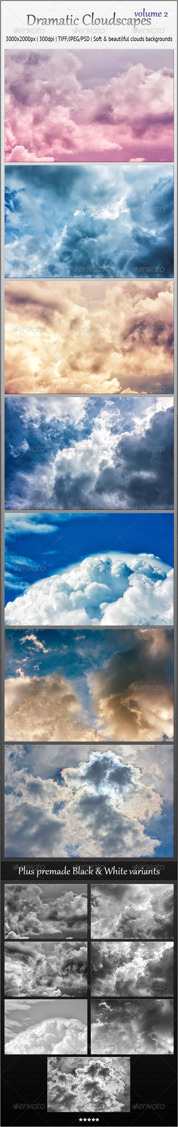 Dramatic Cloudscapes, Vol. 2 - Soft Backgrounds - Nature Backgrounds
