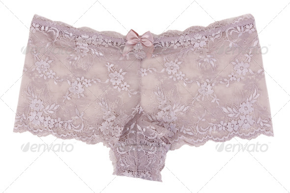 Beige Women's lace panties - Stock Photo - Images