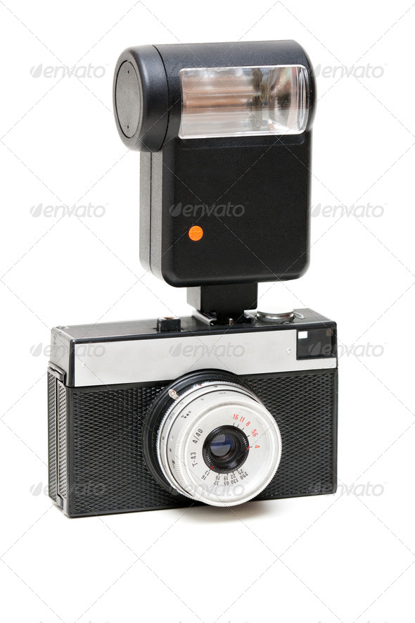 old camera with a flash - Stock Photo - Images