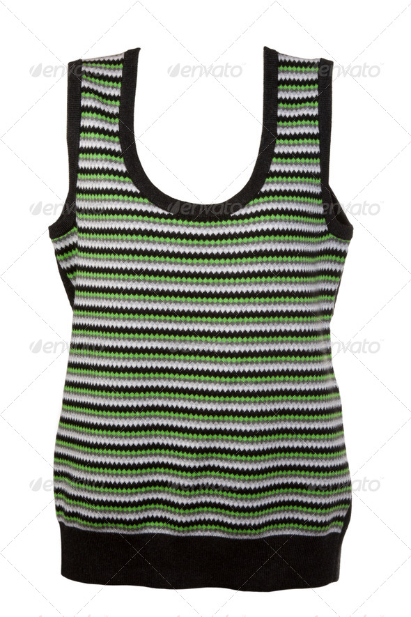 warm waistcoat with green stripes - Stock Photo - Images