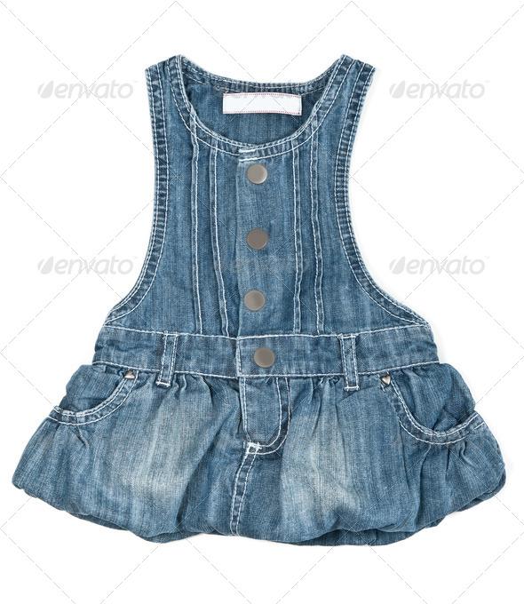 baby blue denim dress - Stock Photo - Images