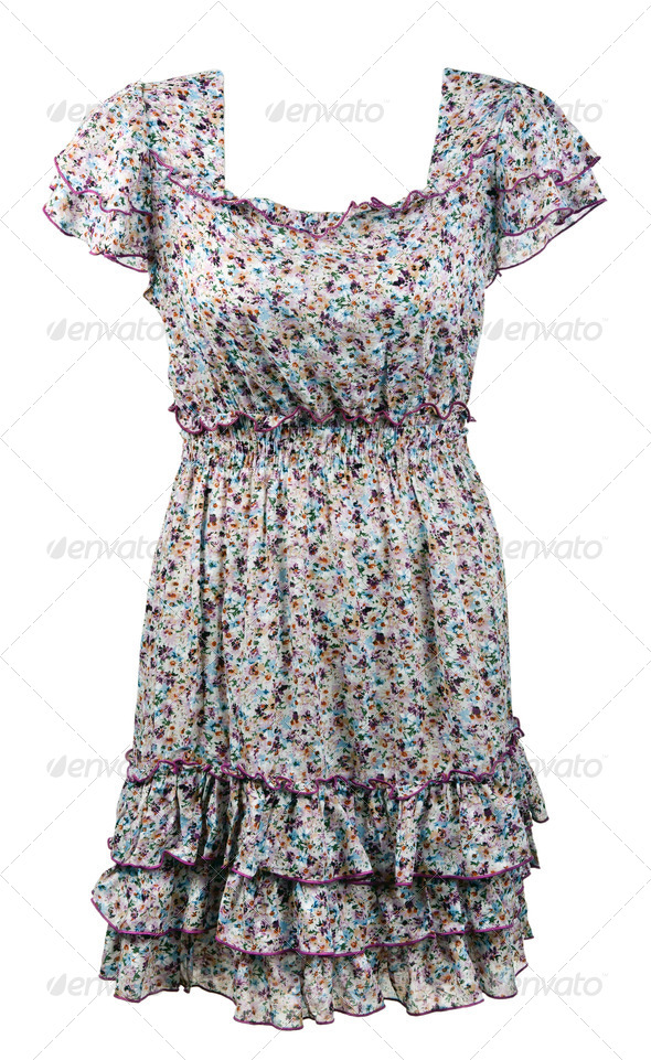 woman's dress with a floral pattern - Stock Photo - Images