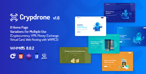 Crypdrone - ICO Crypto Landing & Cryptocurrency Website​ with whmcs Template