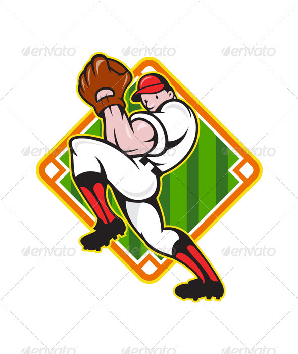 Baseball Pitcher Player Pitching Diamond  - Sports/Activity Conceptual