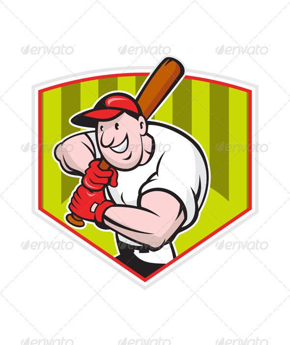 Baseball Player Batting Diamond Cartoon  - Sports/Activity Conceptual