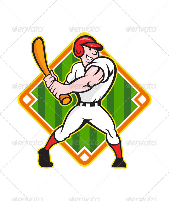 Baseball Player Batting Diamond - Sports/Activity Conceptual