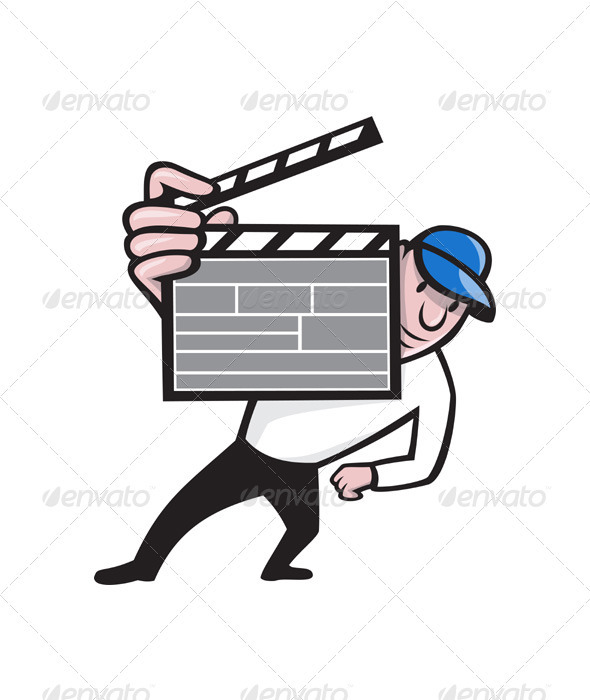 Director With Movie Clapboard Cartoon  - People Characters