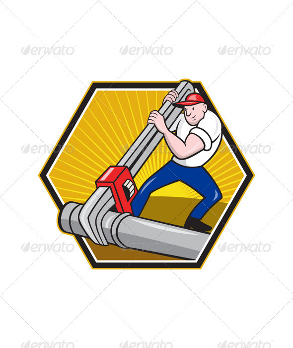 Plumber Worker With Adjustable Wrench Cartoon  - Industries Business