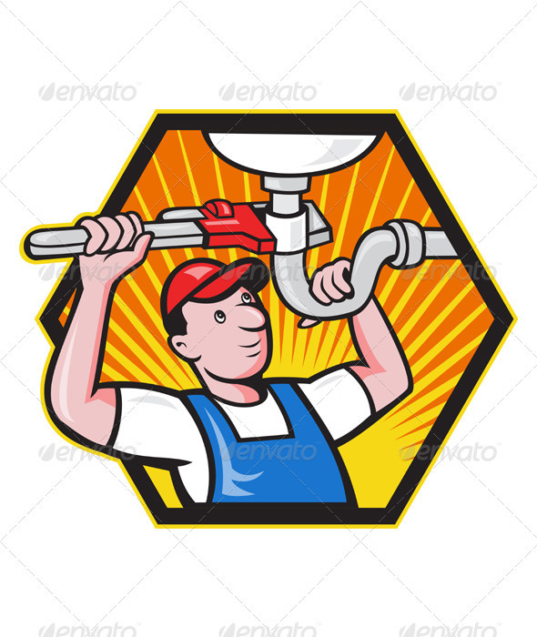 Plumber Worker With Adjustable Wrench   - Industries Business