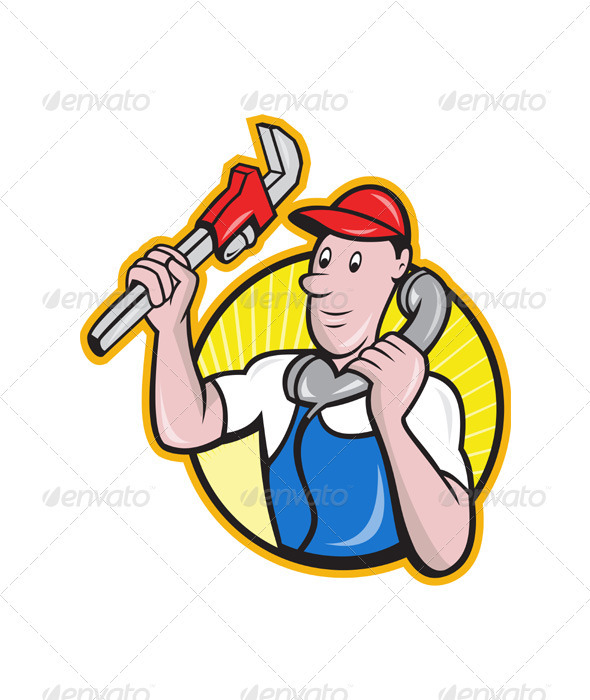 Plumber Worker With Adjustable Wrench Phone  - Industries Business