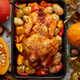 Roasted whole chicken or turkey with pumpkins, pepper and potatoes. With colorful mini pumpkins - PhotoDune Item for Sale