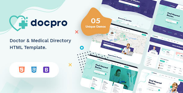Docpro - Doctors directory and Book Online template