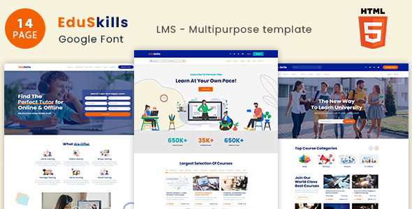 Extraordinary EduSkills - Online Courses & LMS Html Template