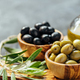 Set of olives and olive oil, banner, copy space - PhotoDune Item for Sale