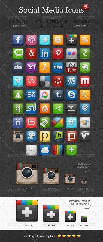 52 Social Media Icons - Web Icons