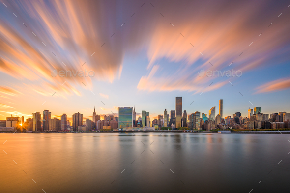 New York City East River Skyline - Stock Photo - Images