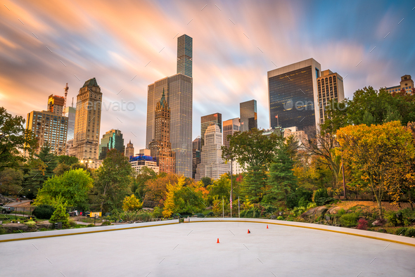 New York, New York, USA cityscape from Central Park - Stock Photo - Images
