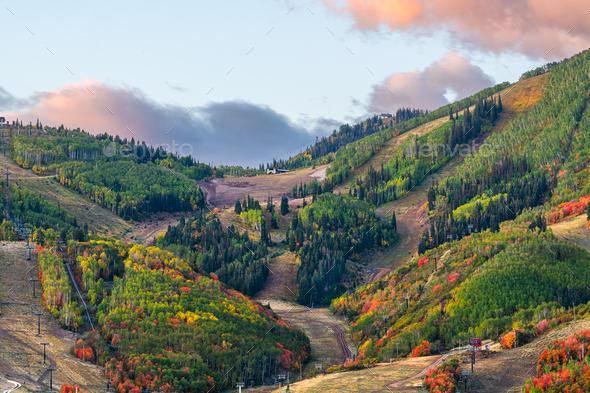 Park City, Utah, USA Autumn Slopes - Stock Photo - Images