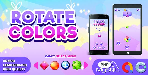Candy Rotate Colors (Construct 3 | HTML5 Game | Leaderboard | Admob)