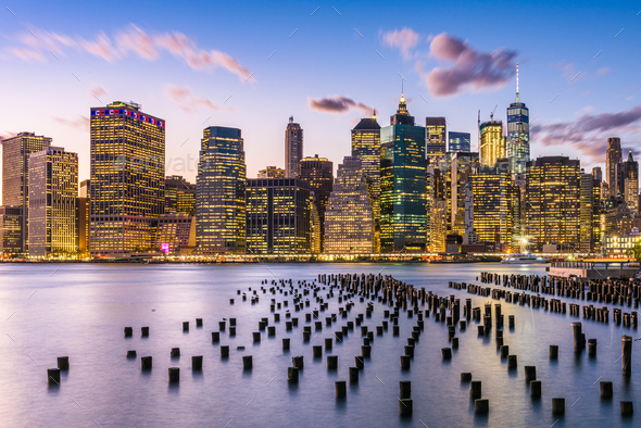 New York City, USA city skyline on the East River - Stock Photo - Images