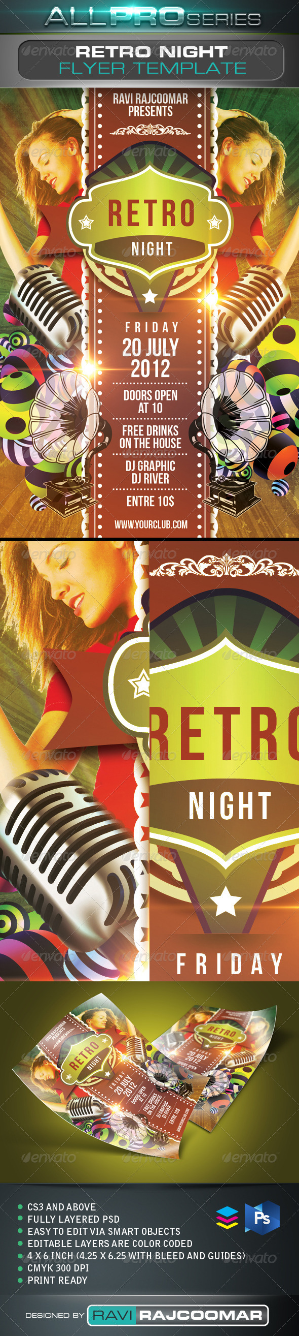 Retro Night Flyer Template - Events Flyers