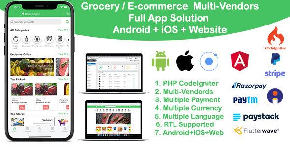 grocery / delivery services / ecommerce multi vendors(Android + iOS + Website) ionic 5 / CodeIgniter Nulled