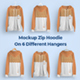 Front and Back Zip Hoodie Mockup On 6 Different Hangers