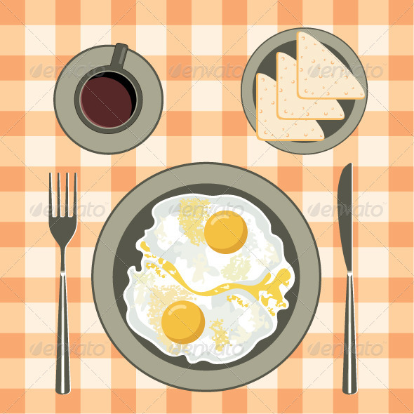 Fried eggs in a plate, coffee and bread - Food Objects