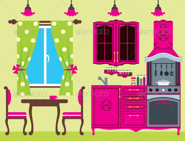 Kitchen furniture. Interior. - Objects Vectors