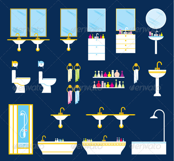 Bathroom equipment set - Objects Vectors