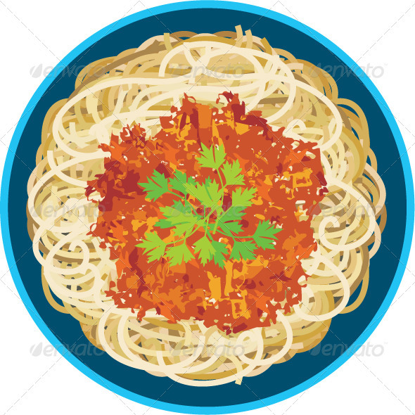 Spaghetti in a plate - Characters Vectors
