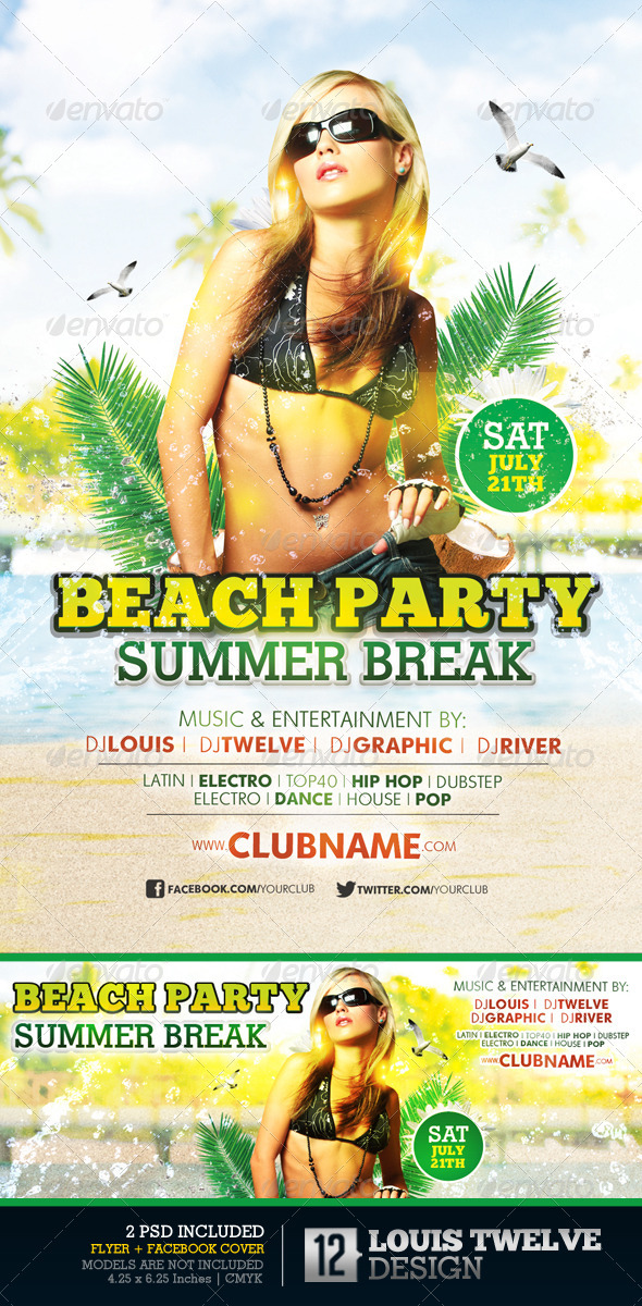 Beach Party Summer Break | Flyer + Facebook Cover - Clubs & Parties Events