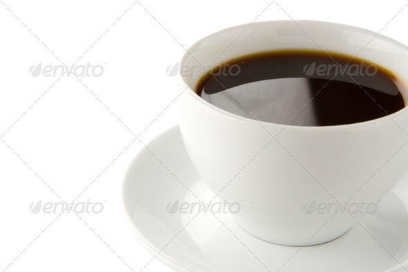 cup full of coffee isolated on white - Stock Photo - Images
