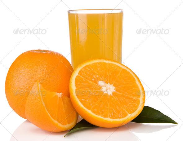 juice and oranges isolated on white - Stock Photo - Images