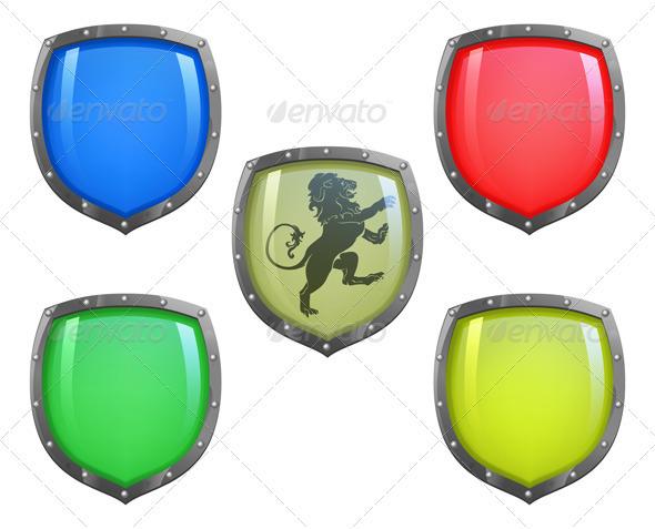 Blue shiny glossy shield - Objects Vectors