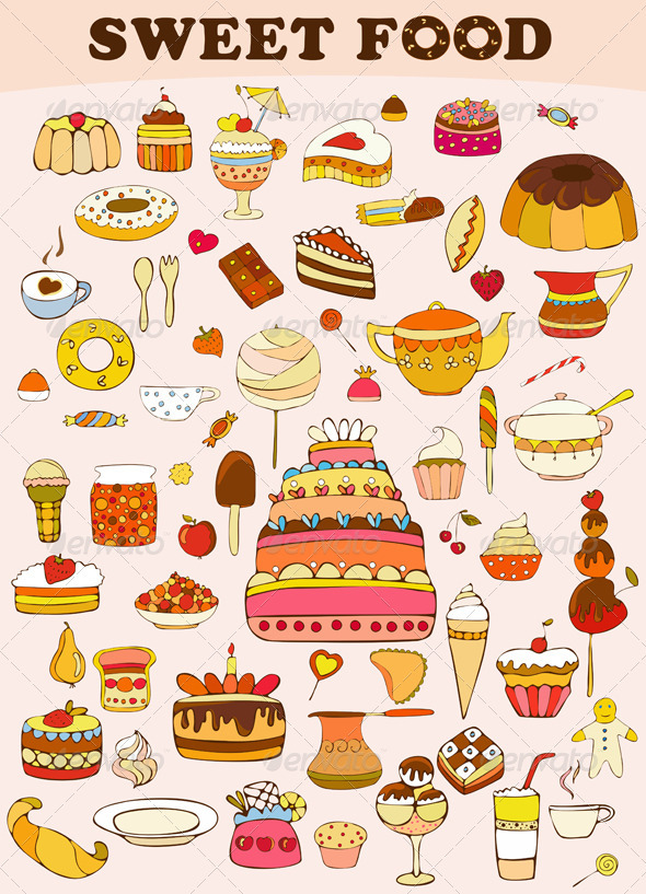 Sweets Food Set - Food Objects