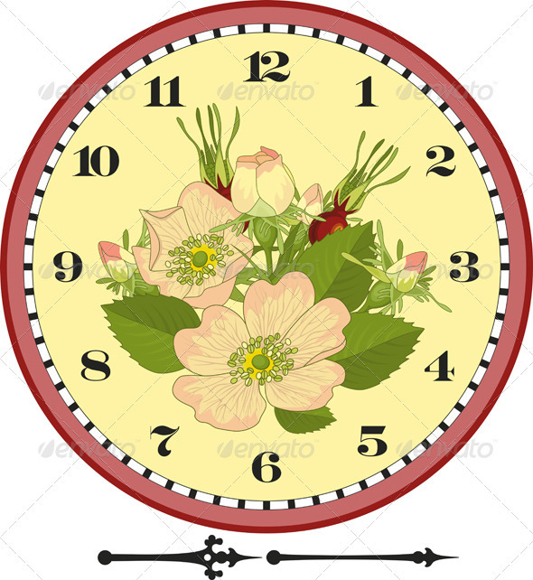 Retro Flower Clock Dial - Objects Vectors