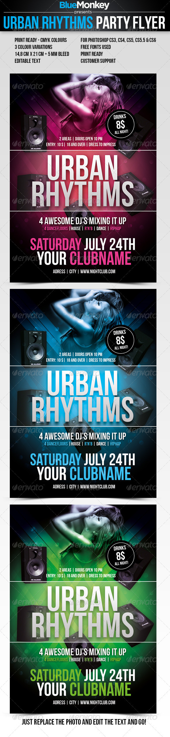 Urban Rhythms Party Flyer - Clubs & Parties Events