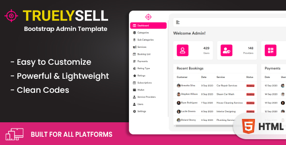 Truelysell - Service marketplace and Sales Bootstrap Admin Dashboard Template (HTML + Angular)
