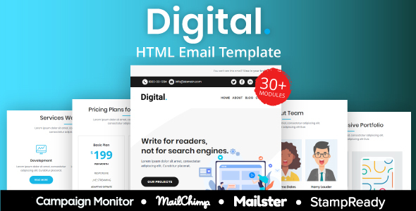 Digital – Multipurpose Responsive Email Template 30+ Modules Mailchimp