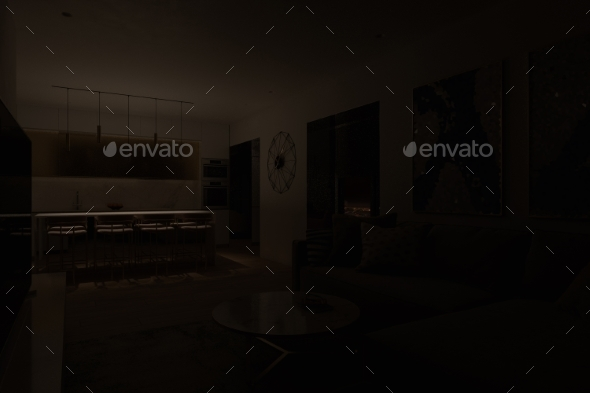 Night 3D Visualization of the Interior. Design of