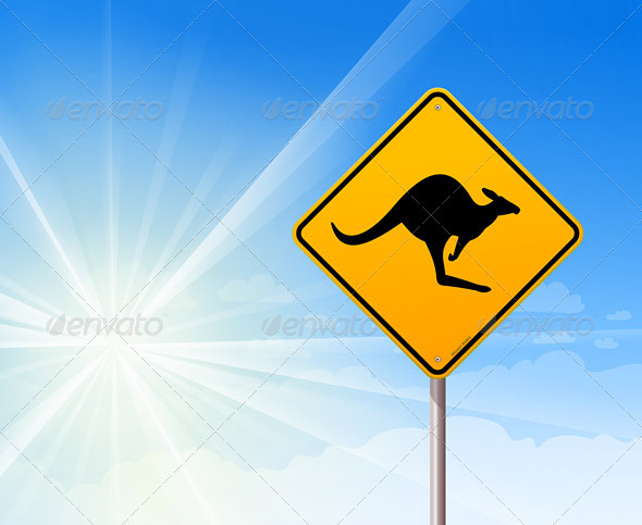Kangaroo sign on blue sky - Travel Conceptual