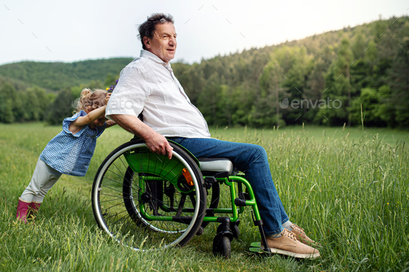 Small girl with senior grandfather in wheelchair on a walk on meadow in nature - Stock Photo - Images