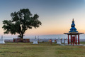 Lonely poplar in a Buddhist temple on sunset - PhotoDune Item for Sale