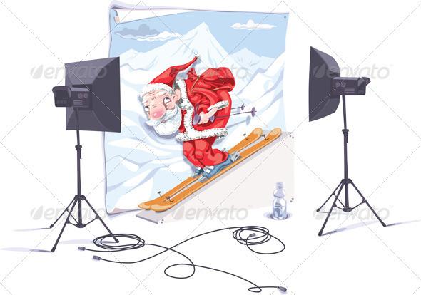 Skiing Santa Claus - Characters Vectors
