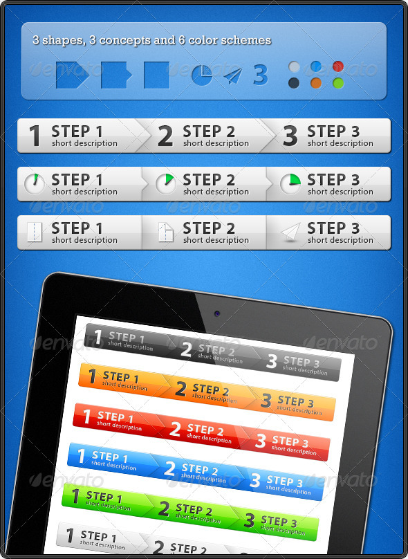 Step Process Panels - Web Elements