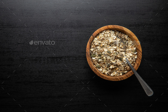 Muesli cereals. Healthy breakfast with oats flakes. - Stock Photo - Images