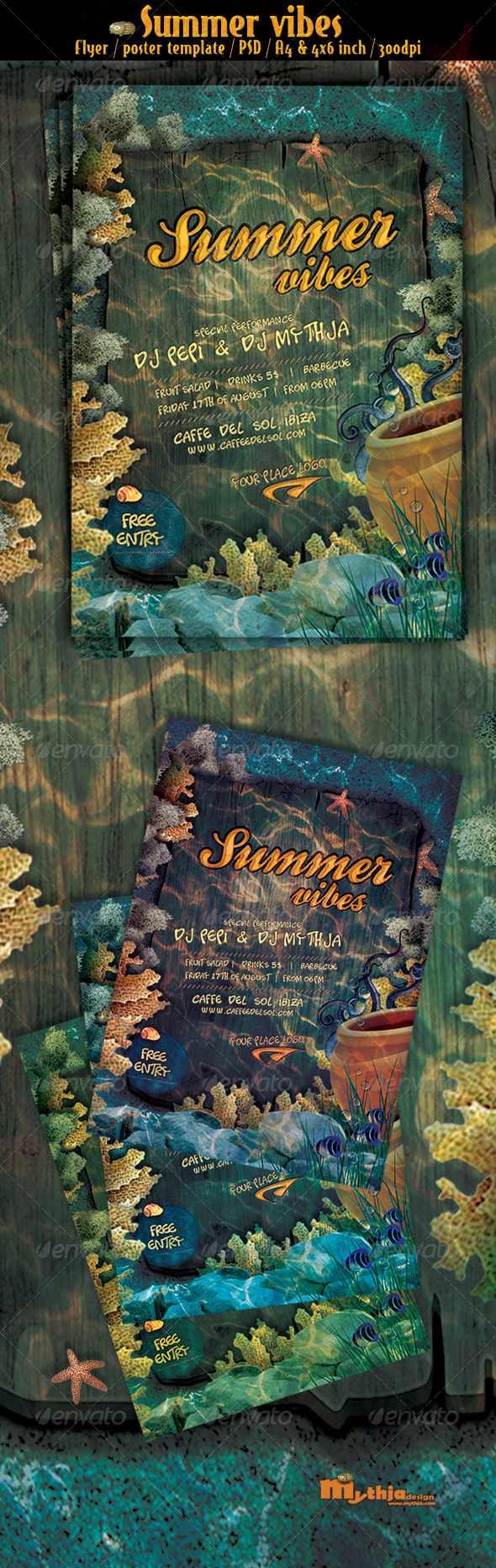Summer vibes vol.1 - party flyer/poster template - Flyers Print Templates