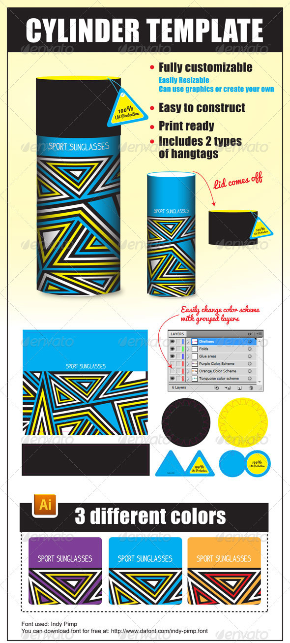 Cylinder package template by mekealoha graphicriver for Cylinder packaging template