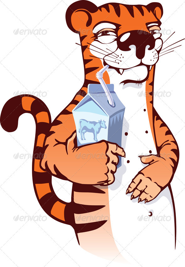 Sly Tiger Drinking Milk - Characters Vectors